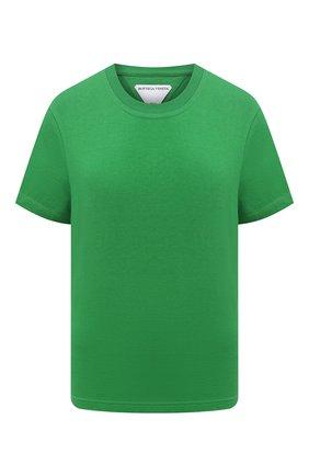 Женская хлопковая футболка BOTTEGA VENETA зеленого цвета, арт. 649060/VF1U0   Фото 1 (Материал внешний: Хлопок; Длина (для топов): Стандартные; Рукава: Короткие; Женское Кросс-КТ: Футболка-одежда; Стили: Гламурный; Принт: Без принта)