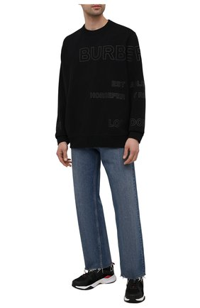 Мужские комбинированные кроссовки HUGO черного цвета, арт. 50451940 | Фото 2 (Материал внешний: Текстиль; Подошва: Массивная)