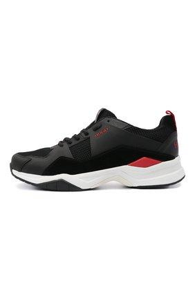 Мужские комбинированные кроссовки HUGO черного цвета, арт. 50451940 | Фото 3 (Материал внешний: Текстиль; Подошва: Массивная)