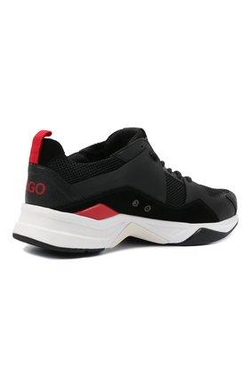 Мужские комбинированные кроссовки HUGO черного цвета, арт. 50451940 | Фото 4 (Материал внешний: Текстиль; Подошва: Массивная)