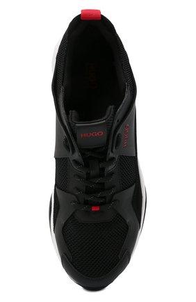 Мужские комбинированные кроссовки HUGO черного цвета, арт. 50451940 | Фото 5 (Материал внешний: Текстиль; Подошва: Массивная)