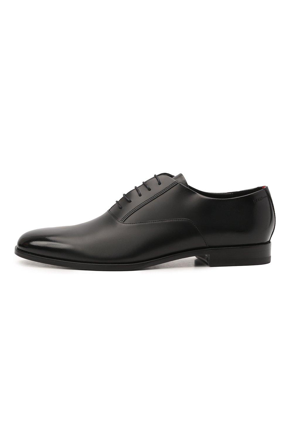 Мужские кожаные оксфорды HUGO черного цвета, арт. 50455187 | Фото 3 (Стили: Классический)