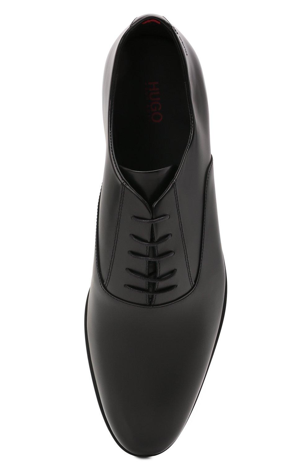 Мужские кожаные оксфорды HUGO черного цвета, арт. 50455187 | Фото 5 (Стили: Классический)
