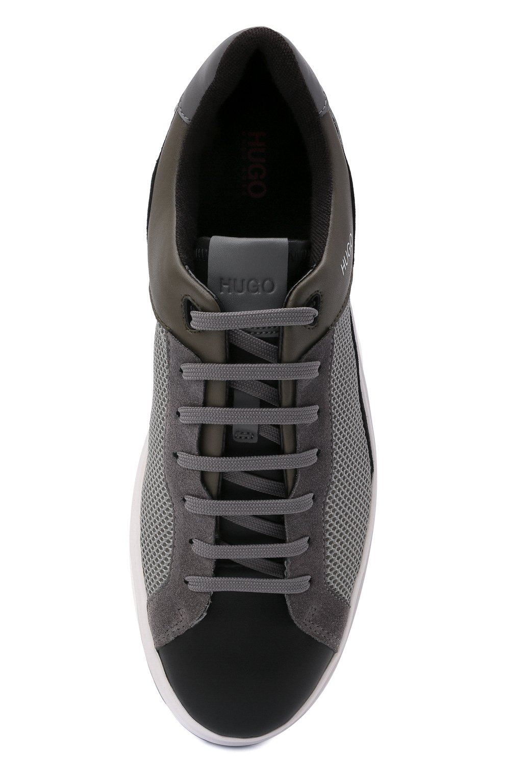 Мужские комбинированные кеды HUGO серого цвета, арт. 50454929 | Фото 5 (Материал внешний: Экокожа; Подошва: Массивная)