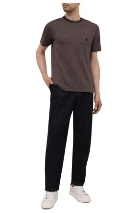 Мужская футболка из хлопка и кашемира GIORGIO ARMANI коричневого цвета, арт. 6KSM63/SJVJZ | Фото 2 (Материал внешний: Шерсть, Хлопок; Принт: Без принта; Стили: Кэжуэл; Длина (для топов): Стандартные; Рукава: Короткие)