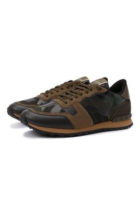 Мужские комбинированные кроссовки rockrunner VALENTINO темно-зеленого цвета, арт. WY2S0723/TCC | Фото 1