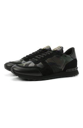 Мужские комбинированные кроссовки rockrunner VALENTINO хаки цвета, арт. WY2S0723/TCC | Фото 1