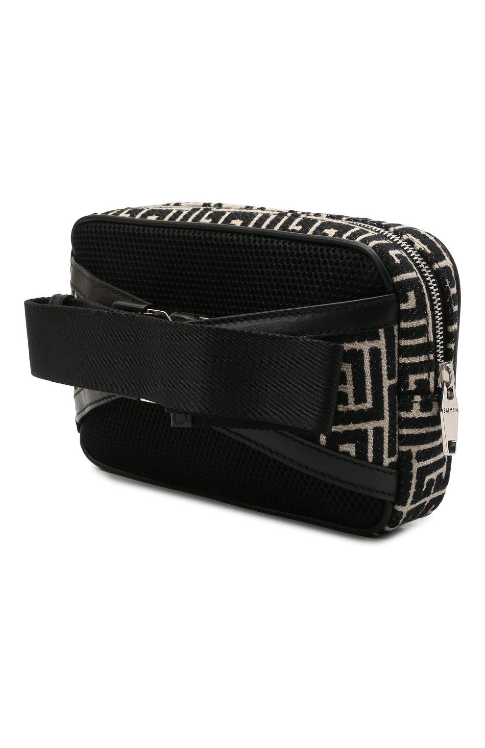 Мужская комбинированная поясная сумка BALMAIN черного цвета, арт. WM1AB146/TJMY   Фото 3