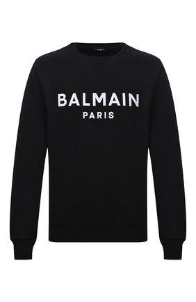 Мужской хлопковый свитшот BALMAIN черного цвета, арт. WH1JQ005/B125 | Фото 1