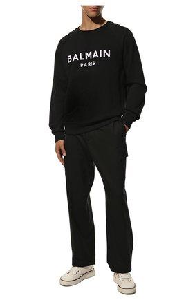 Мужской хлопковый свитшот BALMAIN черного цвета, арт. WH1JQ005/B125 | Фото 2
