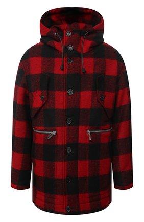 Мужской утепленное пальто DSQUARED2 красного цвета, арт. S74AM1186/S54010 | Фото 1 (Рукава: Длинные; Материал подклада: Синтетический материал; Длина (верхняя одежда): Короткие; Материал внешний: Синтетический материал; Мужское Кросс-КТ: пальто-верхняя одежда; Стили: Кэжуэл)