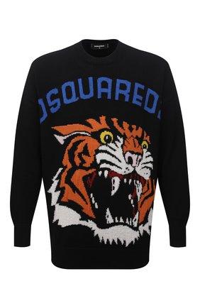 Мужской свитер из шерсти и кашемира DSQUARED2 черного цвета, арт. S74HA1191/S17789 | Фото 1 (Рукава: Длинные; Длина (для топов): Стандартные; Материал внешний: Шерсть)