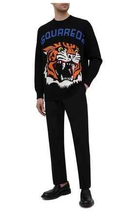 Мужской свитер из шерсти и кашемира DSQUARED2 черного цвета, арт. S74HA1191/S17789 | Фото 2 (Рукава: Длинные; Длина (для топов): Стандартные; Материал внешний: Шерсть)