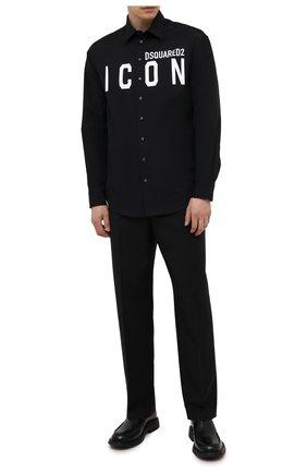 Мужская хлопковая рубашка DSQUARED2 черного цвета, арт. S79DL0015/S36275 | Фото 2 (Длина (для топов): Стандартные; Материал внешний: Хлопок; Случай: Повседневный; Воротник: Кент; Рубашки М: Regular Fit; Рукава: Длинные; Манжеты: На пуговицах; Принт: С принтом; Стили: Гранж)