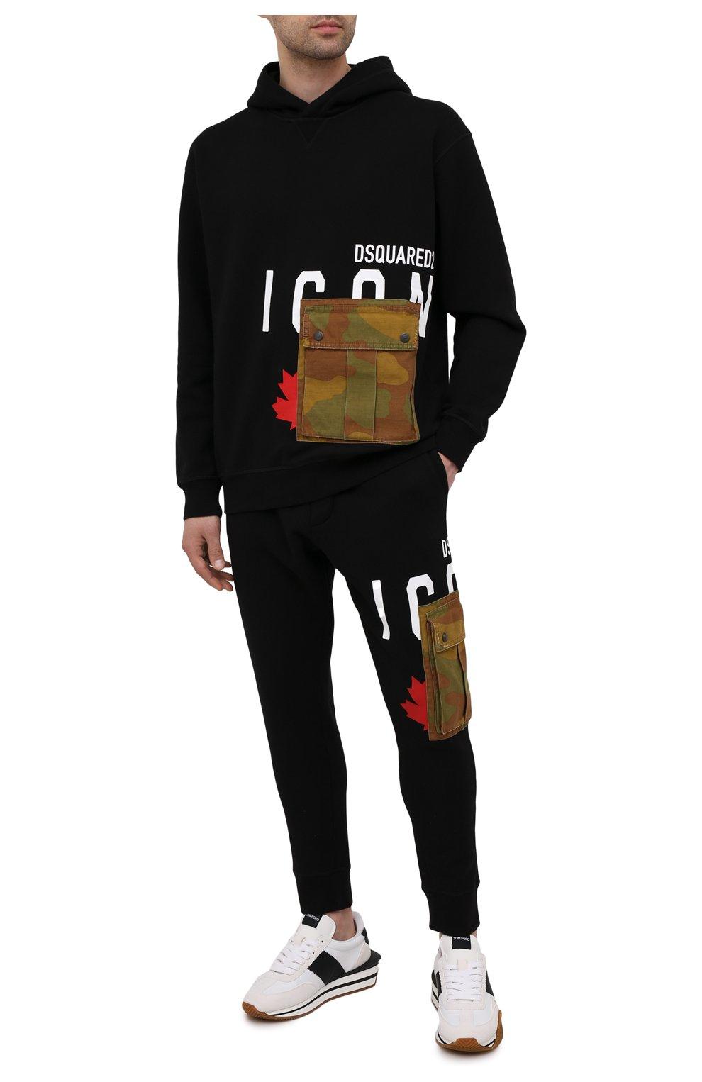 Мужской хлопковое худи DSQUARED2 черного цвета, арт. S79GU0045/S25042 | Фото 2 (Рукава: Длинные; Длина (для топов): Стандартные; Стили: Гранж; Принт: С принтом; Мужское Кросс-КТ: Худи-одежда; Материал внешний: Хлопок)