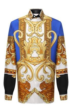 Мужская шелковая рубашка VERSACE разноцветного цвета, арт. A84050/1A00950 | Фото 1 (Материал внешний: Шелк; Рукава: Длинные; Длина (для топов): Стандартные; Случай: Повседневный; Рубашки М: Classic Fit; Стили: Бохо; Воротник: Кент)
