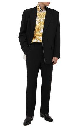 Мужская шелковая рубашка VERSACE разноцветного цвета, арт. A84050/1A00950 | Фото 2 (Материал внешний: Шелк; Рукава: Длинные; Длина (для топов): Стандартные; Случай: Повседневный; Рубашки М: Classic Fit; Стили: Бохо; Воротник: Кент)