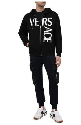Мужской хлопковая толстовка VERSACE черного цвета, арт. 1001083/1A00719   Фото 2