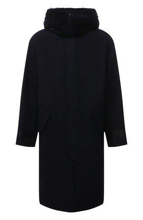 Мужской пальто из шерсти и кашемира GIORGIO ARMANI темно-синего цвета, арт. 1WG0L07X/T0200 | Фото 1 (Материал внешний: Шерсть; Рукава: Длинные; Длина (верхняя одежда): До колена; Материал подклада: Синтетический материал; Мужское Кросс-КТ: пальто-верхняя одежда; Стили: Кэжуэл; Застежка: Молния)