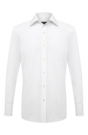 Мужская хлопковая сорочка TOM FORD белого цвета, арт. QFT000/94C1JE | Фото 1 (Рукава: Длинные; Материал внешний: Хлопок; Длина (для топов): Стандартные; Случай: Формальный; Рубашки М: Slim Fit; Манжеты: На пуговицах; Принт: Однотонные; Стили: Классический; Воротник: Кент)