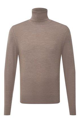 Мужской шерстяная водолазка TOM FORD бежевого цвета, арт. BYM94/TFK120 | Фото 1 (Рукава: Длинные; Материал внешний: Шерсть; Длина (для топов): Стандартные; Мужское Кросс-КТ: Водолазка-одежда; Принт: Без принта; Стили: Кэжуэл)