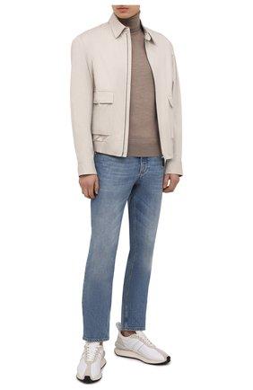Мужской шерстяная водолазка TOM FORD бежевого цвета, арт. BYM94/TFK120 | Фото 2 (Рукава: Длинные; Материал внешний: Шерсть; Длина (для топов): Стандартные; Мужское Кросс-КТ: Водолазка-одежда; Принт: Без принта; Стили: Кэжуэл)
