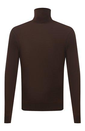 Мужской шерстяная водолазка TOM FORD коричневого цвета, арт. BYM94/TFK120 | Фото 1 (Рукава: Длинные; Длина (для топов): Стандартные; Материал внешний: Шерсть; Мужское Кросс-КТ: Водолазка-одежда; Принт: Без принта; Стили: Кэжуэл)