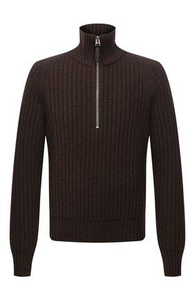 Мужской свитер из кашемира и шерсти TOM FORD коричневого цвета, арт. BYG52/TFK125 | Фото 1 (Материал внешний: Шерсть, Кашемир; Длина (для топов): Стандартные; Рукава: Длинные; Стили: Кэжуэл; Принт: Без принта; Мужское Кросс-КТ: Свитер-одежда)