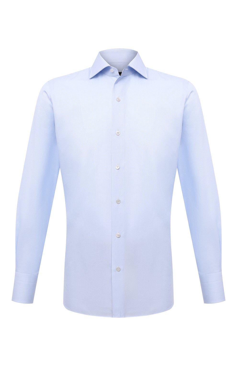 Мужская хлопковая сорочка TOM FORD голубого цвета, арт. 2FT622/94S3AX   Фото 1