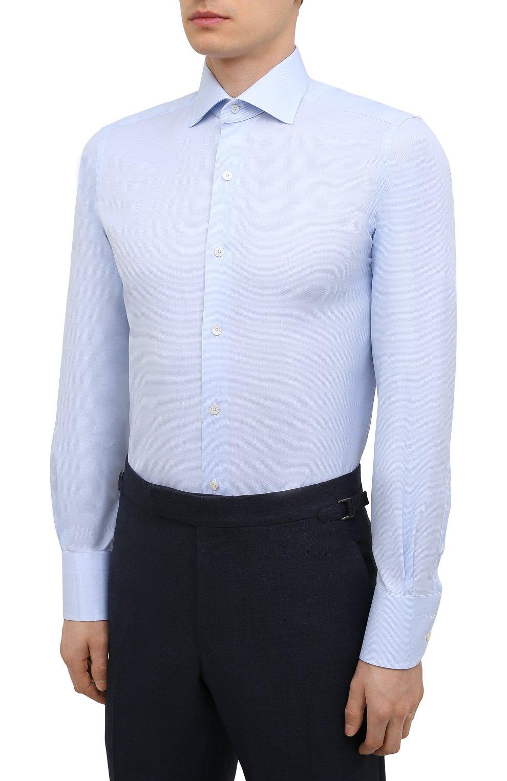 Мужская хлопковая сорочка TOM FORD голубого цвета, арт. 2FT622/94S3AX   Фото 3