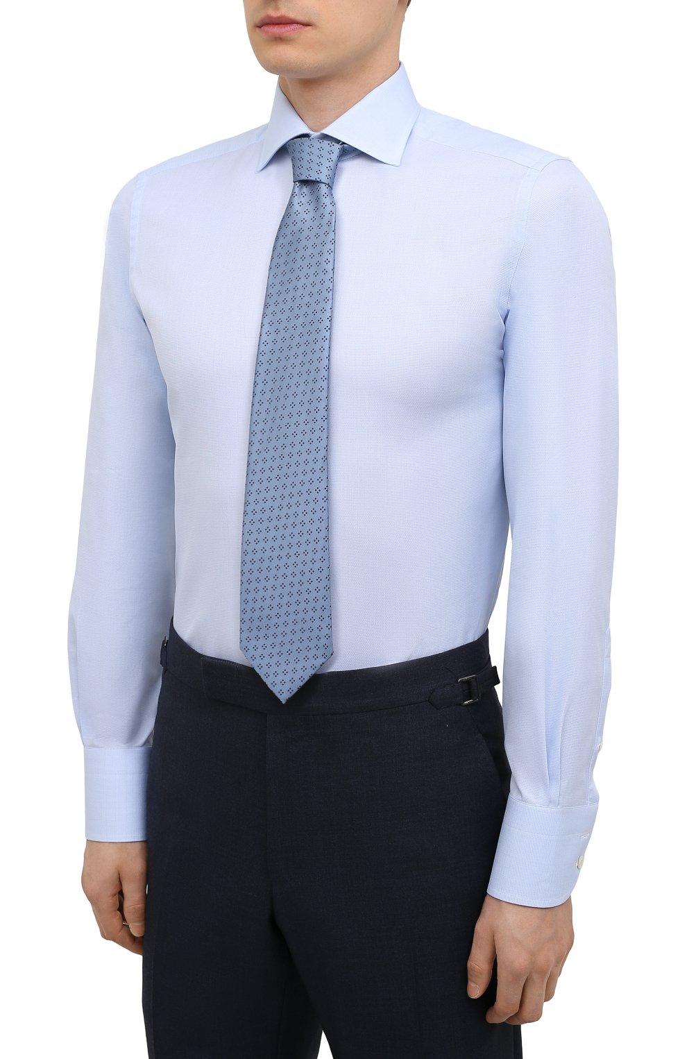 Мужская хлопковая сорочка TOM FORD голубого цвета, арт. 2FT622/94S3AX   Фото 4