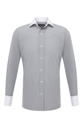 Мужская хлопковая сорочка TOM FORD серого цвета, арт. 2FT200/94SWAX | Фото 1 (Длина (для топов): Стандартные; Рукава: Длинные; Материал внешний: Хлопок; Случай: Формальный; Рубашки М: Slim Fit; Стили: Классический)