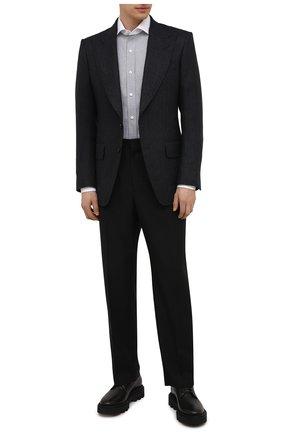 Мужская хлопковая сорочка TOM FORD серого цвета, арт. 2FT200/94SWAX | Фото 2 (Длина (для топов): Стандартные; Рукава: Длинные; Материал внешний: Хлопок; Случай: Формальный; Рубашки М: Slim Fit; Стили: Классический)