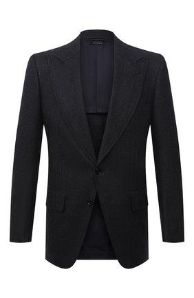 Мужской шерстяной пиджак TOM FORD темно-синего цвета, арт. 211R56/15ME40 | Фото 1 (Рукава: Длинные; Длина (для топов): Стандартные; Материал подклада: Купро, Шелк; Материал внешний: Шерсть; Случай: Коктейльный; Стили: Классический; 1-2-бортные: Однобортные; Пиджаки М: Приталенный)