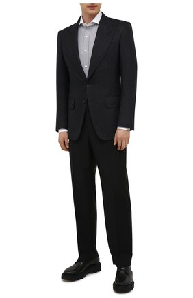 Мужской шерстяной пиджак TOM FORD темно-синего цвета, арт. 211R56/15ME40 | Фото 2 (Рукава: Длинные; Длина (для топов): Стандартные; Материал подклада: Купро, Шелк; Материал внешний: Шерсть; Случай: Коктейльный; Стили: Классический; 1-2-бортные: Однобортные; Пиджаки М: Приталенный)