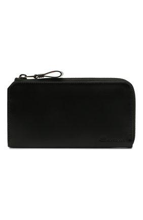 Мужской кожаный футляр для документов SANTONI черного цвета, арт. UFPPA2122F0-GRT0N01 | Фото 1