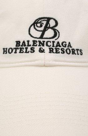 Мужской хлопковая бейсболка BALENCIAGA белого цвета, арт. 656501/410B2   Фото 3