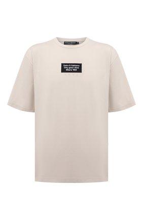 Мужская футболка DOLCE & GABBANA кремвого цвета, арт. G8MZ0Z/FUGK4 | Фото 1