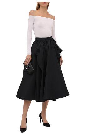 Женская юбка ALEXANDER MCQUEEN черного цвета, арт. 653815/QEACM   Фото 2