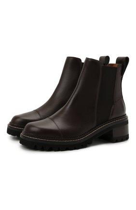 Женские кожаные ботинки mallory SEE BY CHLOÉ темно-коричневого цвета, арт. SB33082A/14002 | Фото 1