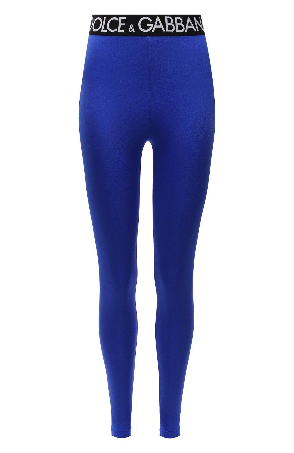 Женские леггинсы DOLCE & GABBANA синего цвета, арт. FTB5TT/FUGLG | Фото 1 (Женское Кросс-КТ: Леггинсы-одежда, Леггинсы-спорт; Длина (брюки, джинсы): Стандартные; Кросс-КТ: Спорт; Материал внешний: Синтетический материал; Стили: Спорт-шик)
