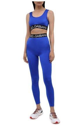 Женские леггинсы DOLCE & GABBANA синего цвета, арт. FTB5TT/FUGLG | Фото 2 (Женское Кросс-КТ: Леггинсы-одежда, Леггинсы-спорт; Длина (брюки, джинсы): Стандартные; Кросс-КТ: Спорт; Материал внешний: Синтетический материал; Стили: Спорт-шик)