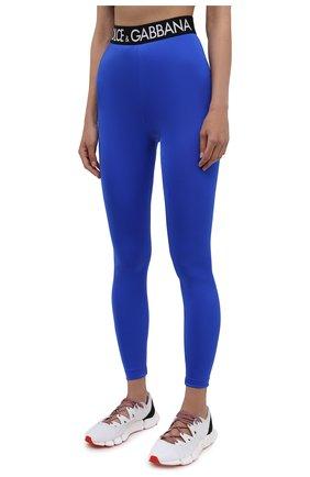 Женские леггинсы DOLCE & GABBANA синего цвета, арт. FTB5TT/FUGLG | Фото 3 (Женское Кросс-КТ: Леггинсы-одежда, Леггинсы-спорт; Длина (брюки, джинсы): Стандартные; Кросс-КТ: Спорт; Материал внешний: Синтетический материал; Стили: Спорт-шик)