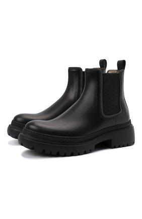 Женские кожаные ботинки BRUNELLO CUCINELLI черного цвета, арт. MZBSG2072 | Фото 1 (Материал внутренний: Натуральная кожа; Каблук высота: Средний; Подошва: Платформа; Женское Кросс-КТ: Челси-ботинки)