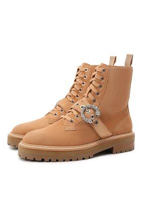 Женские замшевые ботинки cora JIMMY CHOO коричневого цвета, арт. C0RA FLAT/CRYSTAL/UCB | Фото 1