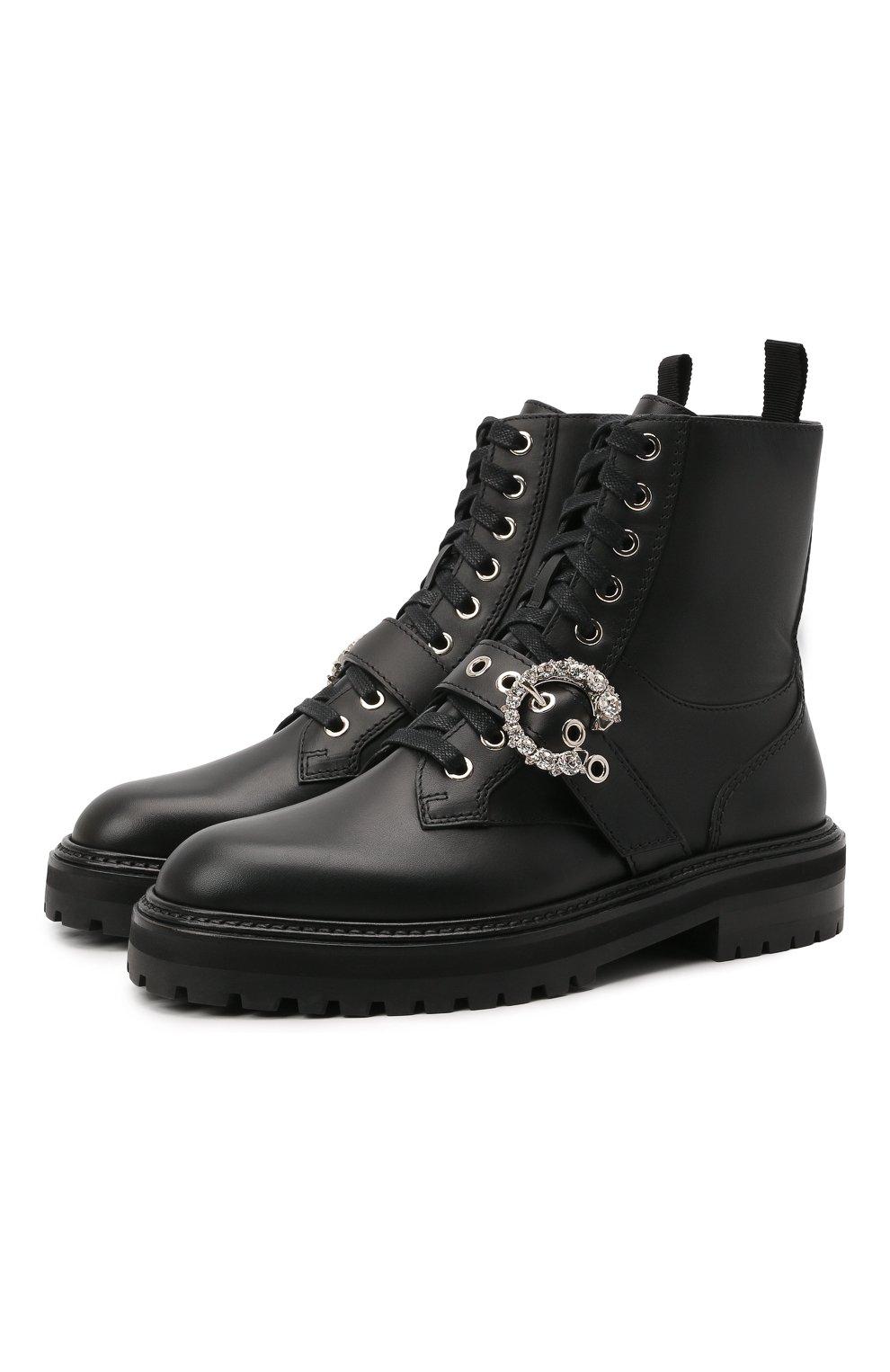 Женские кожаные ботинки cora JIMMY CHOO черного цвета, арт. C0RA FLAT/CRYSTAL/ZXX | Фото 1