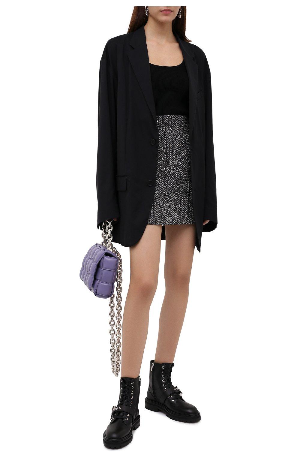 Женские кожаные ботинки cora JIMMY CHOO черного цвета, арт. C0RA FLAT/CRYSTAL/ZXX | Фото 2