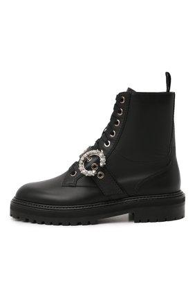 Женские кожаные ботинки cora JIMMY CHOO черного цвета, арт. C0RA FLAT/CRYSTAL/ZXX | Фото 3
