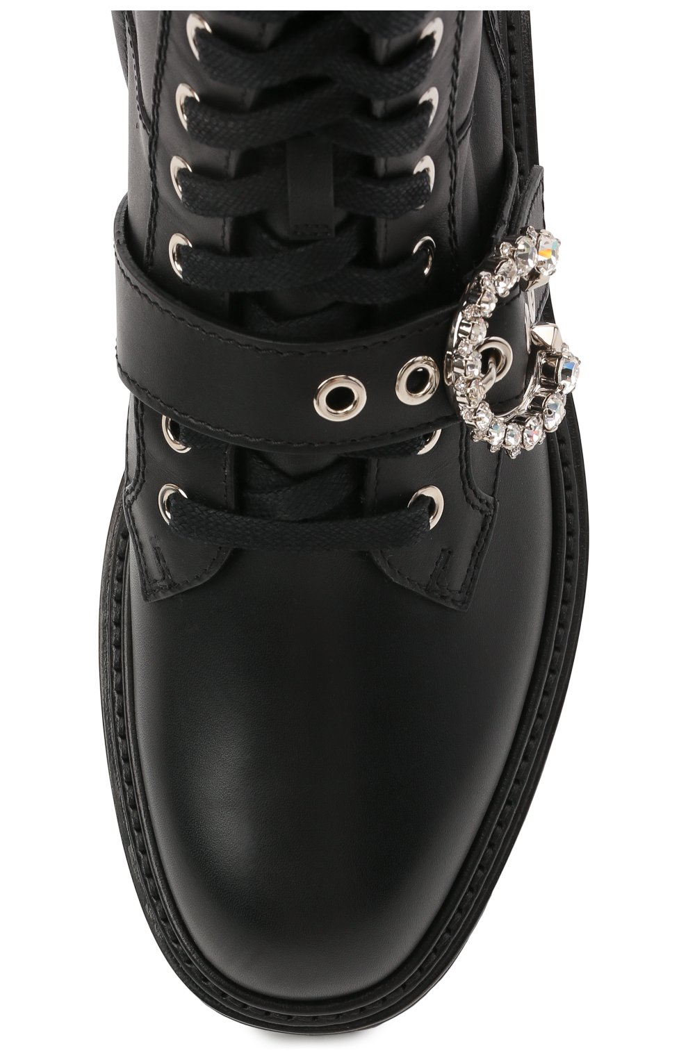 Женские кожаные ботинки cora JIMMY CHOO черного цвета, арт. C0RA FLAT/CRYSTAL/ZXX | Фото 5