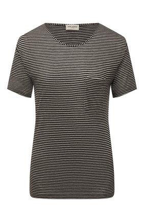 Женская футболка из вискозы SAINT LAURENT серого цвета, арт. 647325/Y36BC | Фото 1 (Длина (для топов): Стандартные; Женское Кросс-КТ: Футболка-одежда; Стили: Кэжуэл; Материал внешний: Вискоза; Рукава: Короткие; Принт: С принтом)